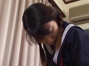 Horny schoolgirl, Sayaka Tsutsumi rubs her Asian pussy and gets banged