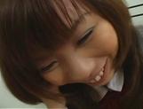 Japanese schoolgirl, Misa Kurita bends over for cock in her twat picture 11