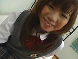 Japanese schoolgirl, Misa Kurita bends over for cock in her twat picture 14