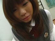 Japanese schoolgirl, Misa Kurita bends over for cock in her twat