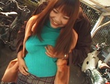 Redhead Japanese chick, An Mizuki with big tits enjoys sex outdoors