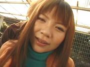 Redhead Japanese chick, An Mizuki with big tits enjoys sex outdoors