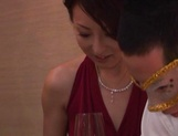 Horny Japanese milfs in sexy dresses get banged at the party