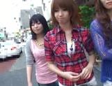 AV models Nami, Nagisa, and Midori ride and suck cock picture 11
