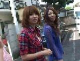 AV models Nami, Nagisa, and Midori ride and suck cock picture 13