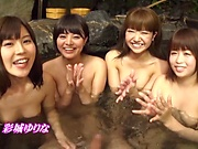 Steamy outdoor with Japanese models in hardcore