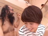Pretty short-haired milf Nanami Kawakami teased by a group of guys picture 15