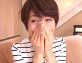 Pretty short-haired milf Nanami Kawakami teased by a group of guys picture 9