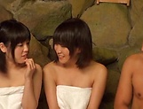 Charming beauties gets their tits exposed at a sauna picture 12