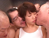 Sweet Japanese chick with small tits Nanami Kawakami in a gangbang action picture 11