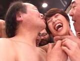 Sweet Japanese chick with small tits Nanami Kawakami in a gangbang action picture 14