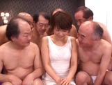 Sweet Japanese chick with small tits Nanami Kawakami in a gangbang action picture 7
