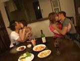 Luscious Asian milfs Anje Hoshi, and Nana Satake enjoying a rough foursome fuck picture 13