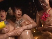 Horny girls take cum after a nice anal group bang