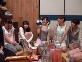 Slutty Asian babes in raunchy gang bang scene picture 13