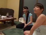 Slutty Asian babes in raunchy gang bang scene