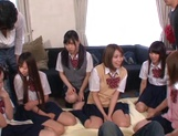Horny schoolgirl Ryouka Asakura involved into a crazy group sex party