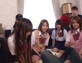 Horny schoolgirl Ryouka Asakura involved into a crazy group sex party picture 15