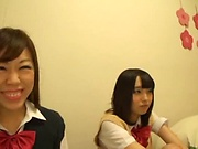 Japanese schoolgirls gone wild on strong cock