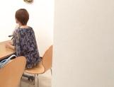 Pretty Japanese milf in transparent lingerie Akari Asahina jerks off cock