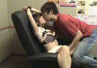 Naughty couple fuck in the video room secretly tapedjapanese boobs, asian boobs