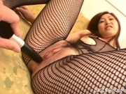 Hikaru Yuzuki Fishnets And Vibrators Asian babe Enjoys Showing Off Her Pussy