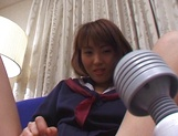Japanese schoolgirl, Kanako Enoki plays with vibrator on cam