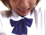 Naughty Asian babe in schoolgirl uniform gets teased with toys