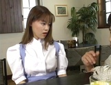 Sexy Japanese maid, Tsubasa Okuna with juicy tits gets licked and gives a blow picture 2