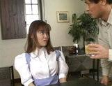 Sexy Japanese maid, Tsubasa Okuna with juicy tits gets licked and gives a blow picture 4