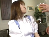 Sexy Japanese maid, Tsubasa Okuna with juicy tits gets licked and gives a blow picture 6