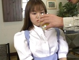Sexy Japanese maid, Tsubasa Okuna with juicy tits gets licked and gives a blow