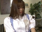 Sexy Japanese maid, Tsubasa Okuna with juicy tits gets licked and gives a blow picture 8