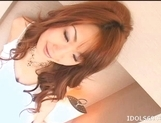 Japanese AV Model Enjoys Getting A Load Of Cum On Her Tits picture 1