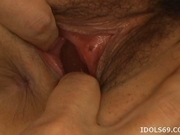 Japanese AV Model Gets Her Hairy Wet Pussy Masturbated