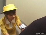 Japanese AV Model Gives A Blowjob In An Elevator