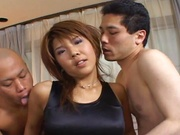 Kokeshi naughty Asian milf shows off in group sex show
