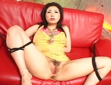 Hatsumi Kudo hot Asian milf in yellow gets pussy fingered and toy insertion picture 12