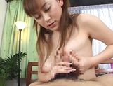 Sexy amateur MILF Minami Hoshikawa gets cummed on after POV handjob