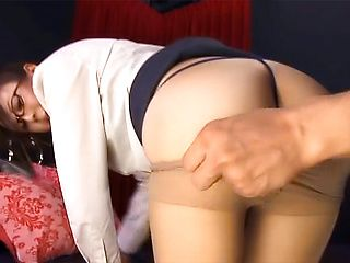 Horny office lady in glasses enjoys fingering and doggie fashion bang