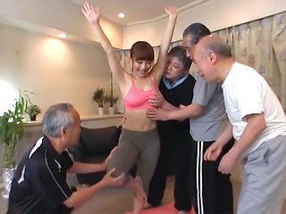Active sporty milf Mao Kurata fucks a group of horny old dudes