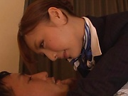 Fuyutsuki Kaede rewarded by a creamy facial indoors