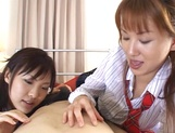Two horny ladies in school uniform having hardcore threesome