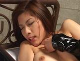 Nice JP milf Riko Tachibana in latex costume enjoying hardcore cosplay picture 15