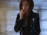 Nice JP milf Riko Tachibana in latex costume enjoying hardcore cosplay