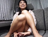Hot Asian milf enjoying some hand work on pussy