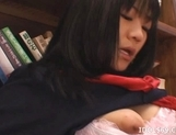 Misaki Saya Sltty Asian School Girl Masturbates In The Library picture 14