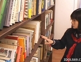 Misaki Saya Sltty Asian School Girl Masturbates In The Library picture 1