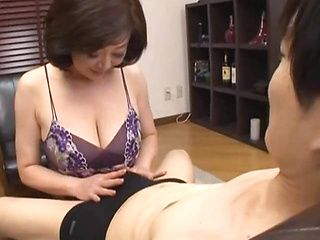 Mature Chizubu Terashima with big Asian tits gives a nice tit fuck