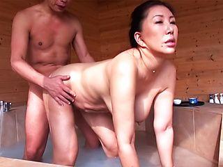 Naughty Japanese model gets hot tit fucking